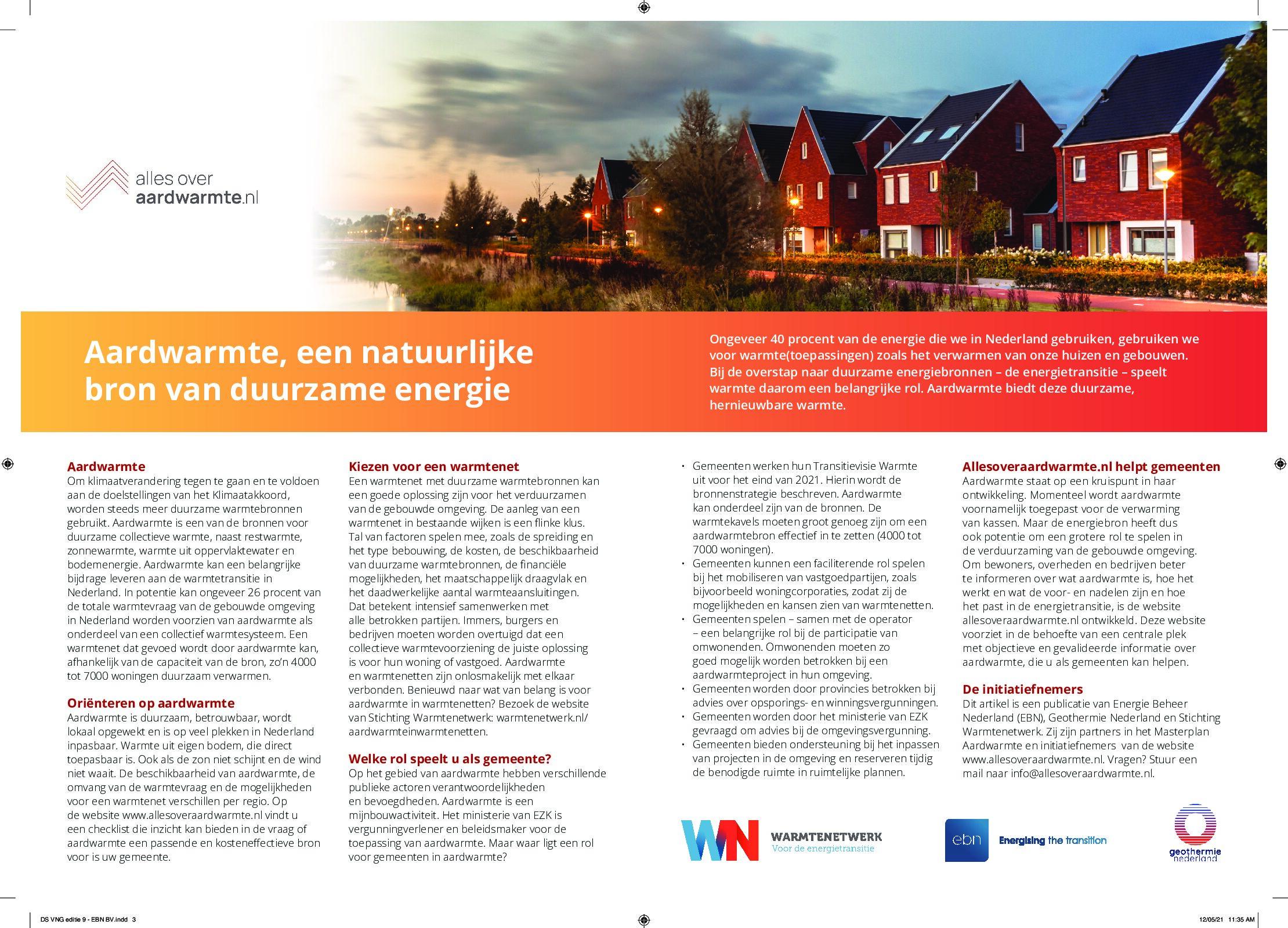 VNG magazine: aardwarmte als bron voor warmtenetten